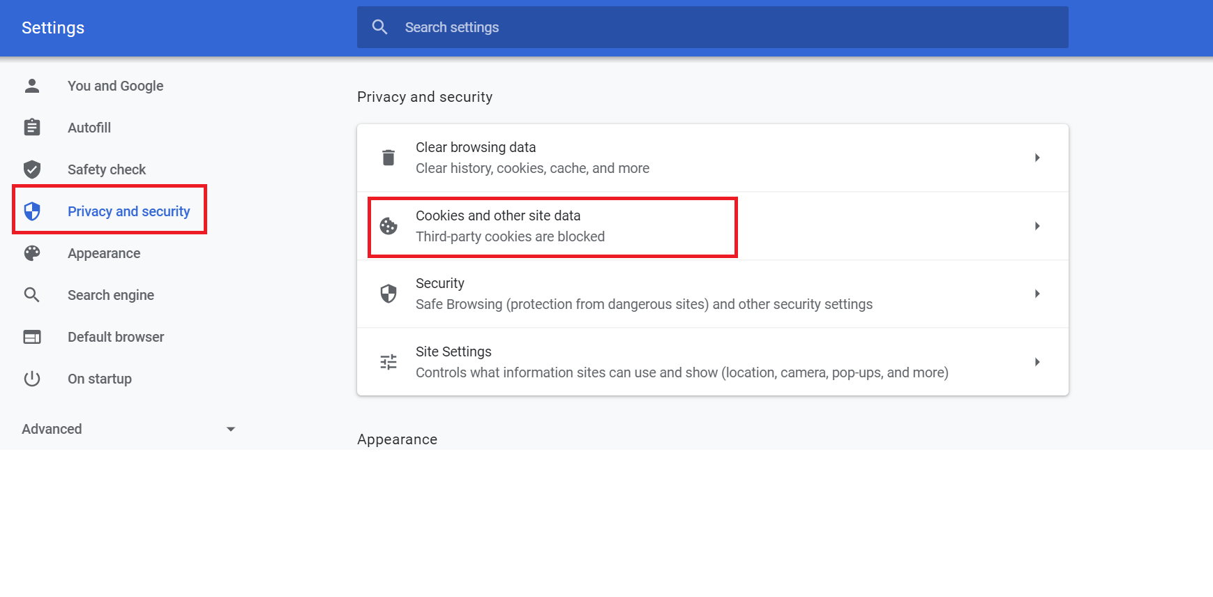 screenshot showing where to access security and privacy settings