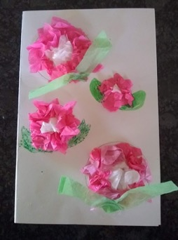 Tissue paper flower garden with leaves