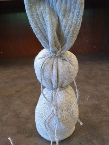 Back of the sock showing knots