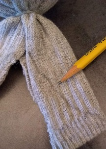 Draw a curve on the sock