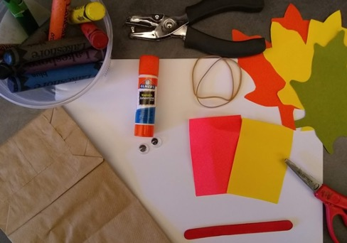 Glue, paper and crafting supplies