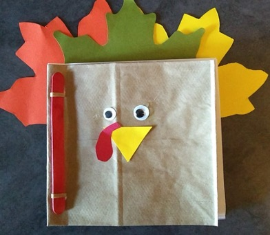 Completed book that resembles a turkey craft