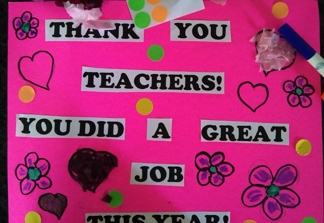 Poster decorated with dot stickers.
