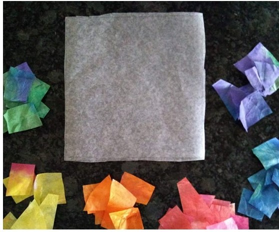 Sort the tissue paper into similar colors