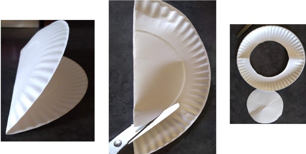 Cut out the center circle of a paper plate.